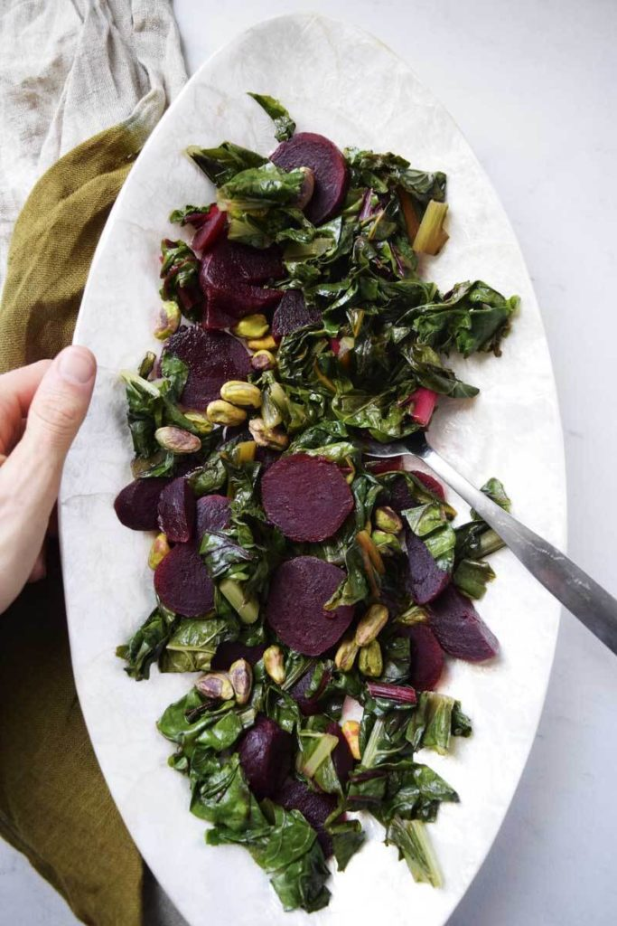 CIDER BRAISED RAINBOW CHARD WITH BEETS