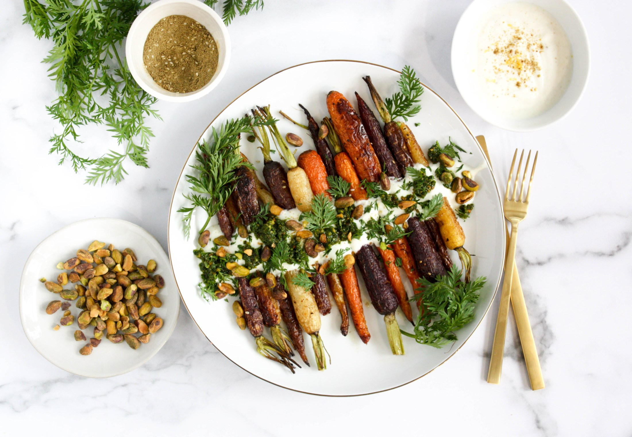 Roasted Carrots with Carrot Top Pesto - Graceinthecrumbs.com