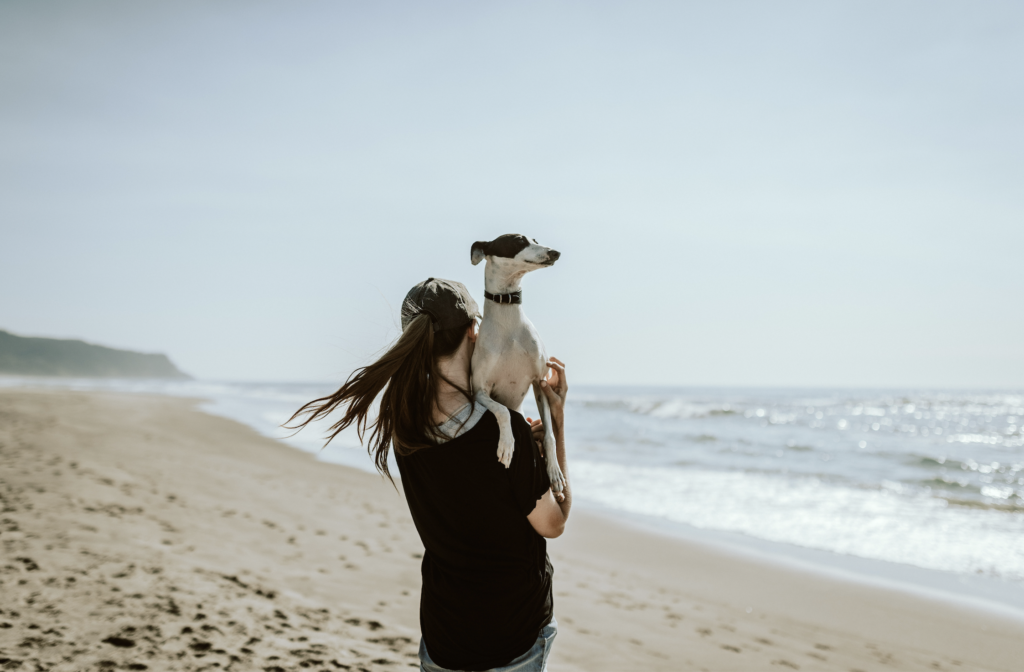 Woman facing the ocean and walking a dog on the beach